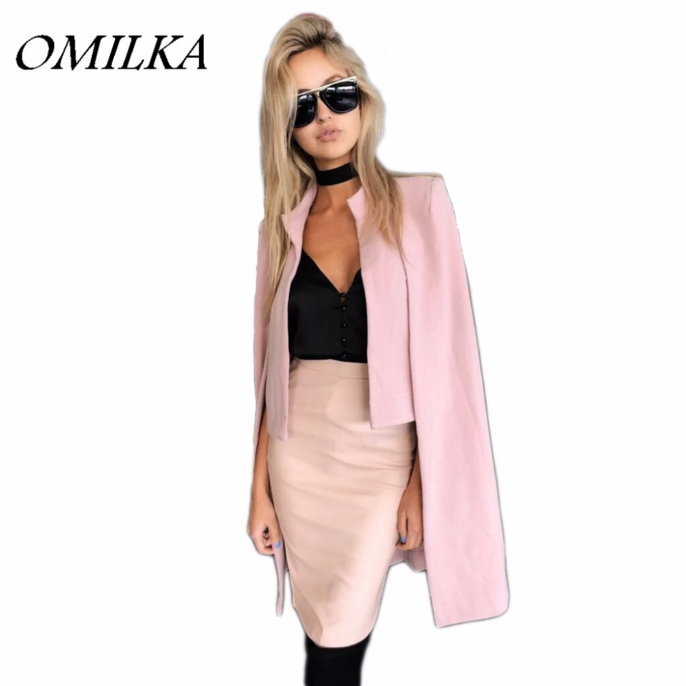 OMILKA Veste Blazer Femme 2017 Winter Women Pink Gray Cloak Cape Blazer Fashion Long Sleeve Bomber Jacket Cape Blazer Workwear