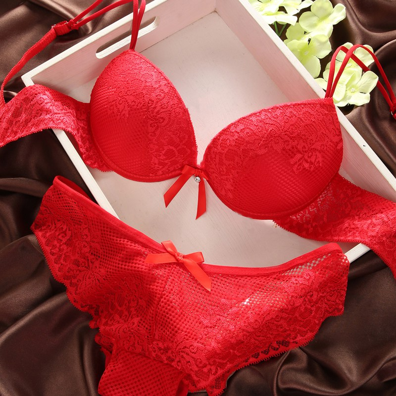 47a2f7f91f99 Women Lace Sexy Push Up Bra and Panty Set Cotton Embroidery Underwear  Lingerie Sets