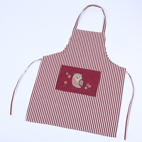 2017 New Korean Owl Pattern Stripe Sleeveless Aprons Adult Fashion Kitchen Apron With Pockets Keukenschort Halterneck