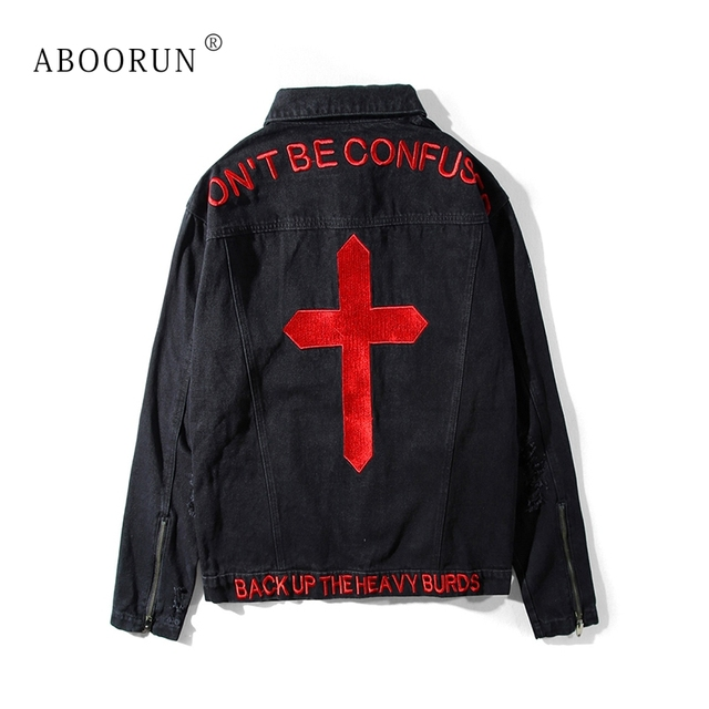 ABOORUN Hip Hop Men's Denim Jackets Cross Embroidery Printed Jackets Spring Autumn Coat Outerwear for Male x460