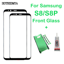 pantalla front glass replacement For Samsung Galaxy S8 G950F S8+ plus G955 black Touch Glass panel+ Sticket s8p ecran tactile
