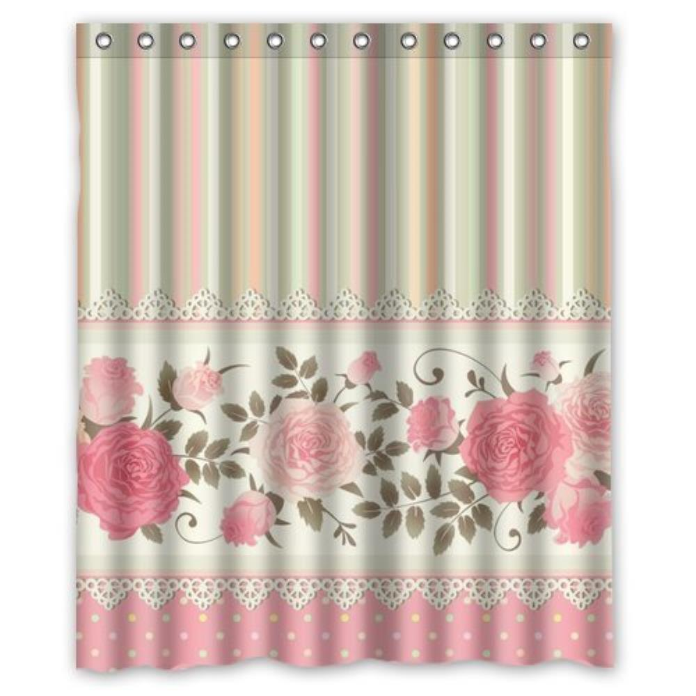 Vintage P Rose Blossom Floral Custom Shower Curtain Pattern Waterproof Fabric Shower Curtain For Bathroom 66*72inch
