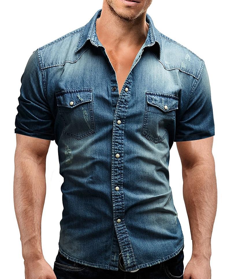Men Spring Summer Denim Thin Shirt Short Sleeve Soft Cotton Two Pockets Slim Slight Elastic Jeans Cowboy Shirt Clothing