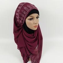 Exquisite Solid Color Muslim Turban Woman Hijab Rhinestone Silk Popular Shawls Scarf Hijabs Headband 22 Colors Free Shipping