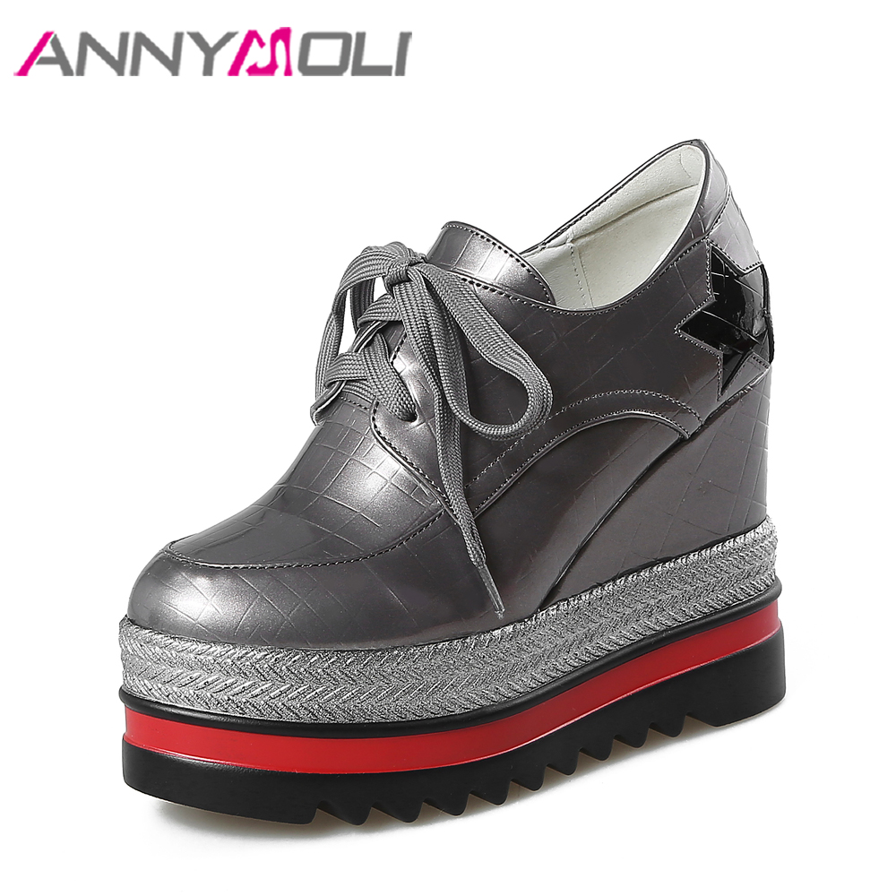 ANNYMOLI Women Platform Shoes Wedge Heels Lace Up Shoes Extreme High Heel Rubber Shoes 2018 Spring Increasing Heel Pumps Black nayiduyun women genuine leather wedge high heel pumps platform creepers round toe slip on casual shoes boots wedge sneakers