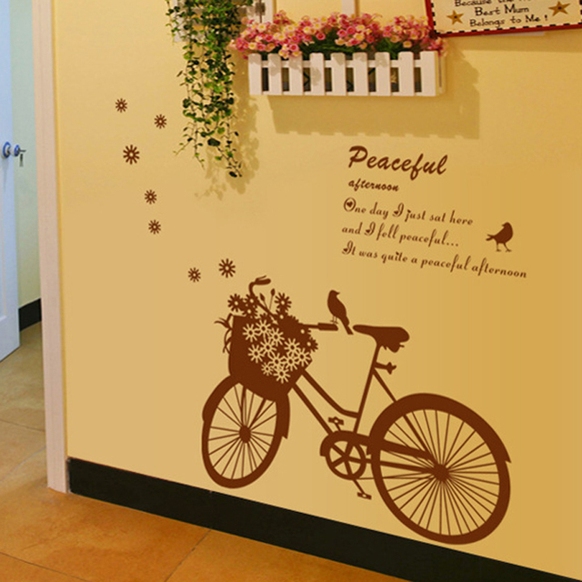 Romantic Bike Bird English Letters Wall Decal Home Sticker Paper Art ...