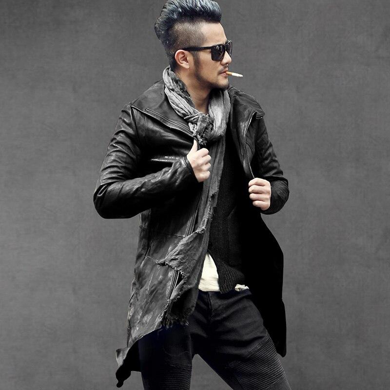 2019 Degli Uomini di taglio testa strato di pelle di pecora lungo genuino giacca di pelle uomo metrosexual parte superiore di modo di qualità di stile Europeo giacca di pelle