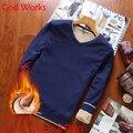 Dios Obra marca de ropa Con Cuello En V sólido mens gruesos suéteres de lana jersey de los hombres de moda casual masculina Navidad suéteres de invierno
