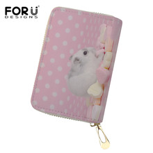FORUDESIGNS Pink Card Holder Bags Kawaii Guinea Pig Pattern Business Card Holders Coin Purses Mini Credit Card Holders Wallets