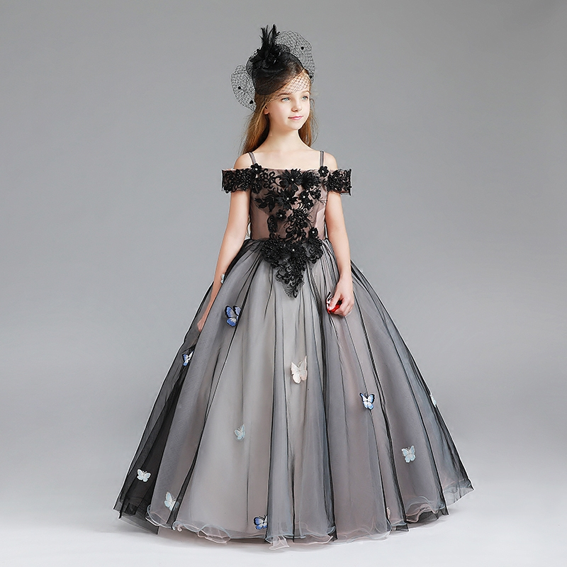 8dc0bd00a6816 Royal Black Flower Girls Dress 2018 New Princess Dresses for Wedding Party  Children Tulle Ball Gown Birthday Pageant Dress D107
