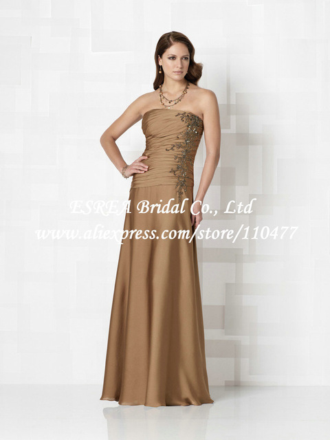 Bronze Color Formal Strapless Long Mother Of The Bride Dress Gown Satin Pleat With Liques Xg504