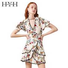 цены на HYH HAOYIHUI Floral Print Mini Women Dress Deep V Neck Layered Frills Cut Out Back Bow Tie Short Sleeve Vestidos  в интернет-магазинах