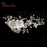 2016 New Luxury Women Hair Accessoires Handmade Simulated Pearl Bridal Beautiful Flower Wedding Hairpiece Wedding Hair