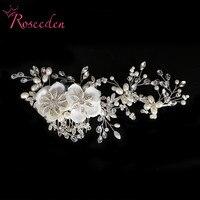 2016 New Luxury Women Hair Accessoires Handmade Simulated Pearl Bridal Beautiful Flower Wedding Hairpiece Wedding Hair