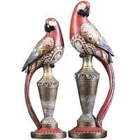 European Vintage Parrot Sculpture Luxury Resin Crafts Ornament Retro Animal Parrot Figurine Home Wine Cabinet Decor Wedding Gift