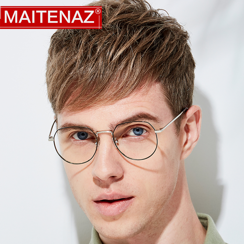 MAITENAZ Alloy Prescription Eyeglasses Polygonal Irregular  Myopia Hyperopia Glasses for Men Women Fashion Spectacles 1762(China)