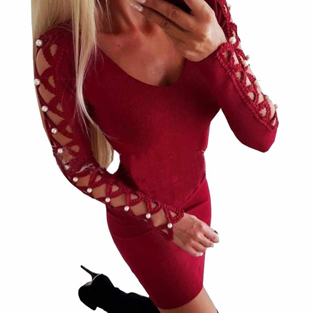 2019 New Women Sexy Beading Hollow Out Bodycon Dress Evening Party Mini  Dress Robe 3  381eadcd2091