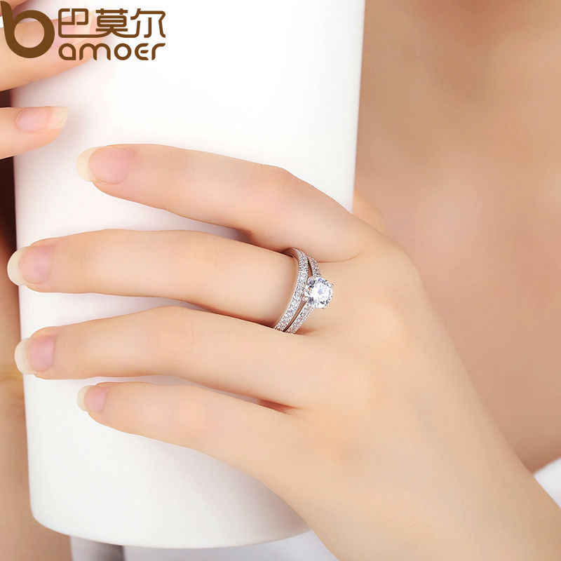 BAMOER สีเงินคู่ชุดแหวนสำหรับผู้หญิง Pave AAA Zircon เครื่องประดับงานแต่งงาน YIR045