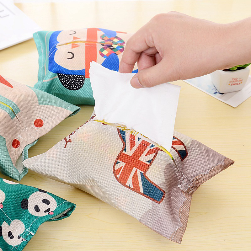 EZLIFE 1PC Lovely Cute Cloth Animal Tissue Box Cotton linen Holder Paper Container Dispenser Cover Car Home Decor ZH01183
