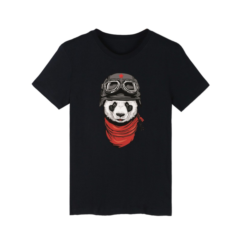 Cartoon Panda Pattern Cotton font b T shirt b font Black Cotton Teeshirt and Funny t
