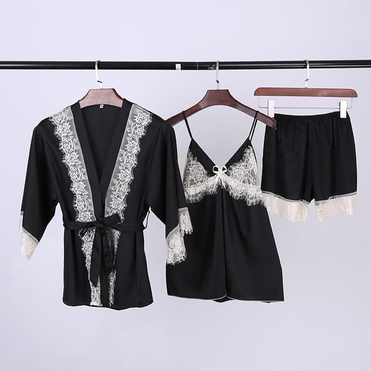 sexy womens lace three pieces pajamas sets bathrobes tops shorts pants pyjamas sets female summer nightwear dropshipping
