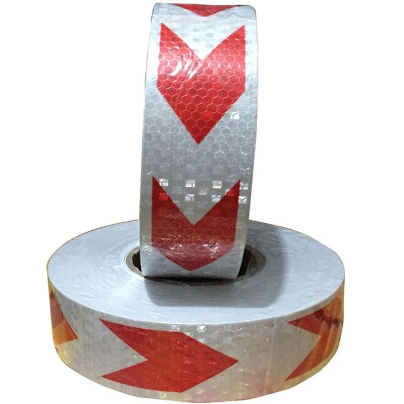 5 см * 45 м светоотражающие полоски безопасности Предупреждение знак ленты тела наклейки красный, белый стрелка решетки клей износостойкий в...