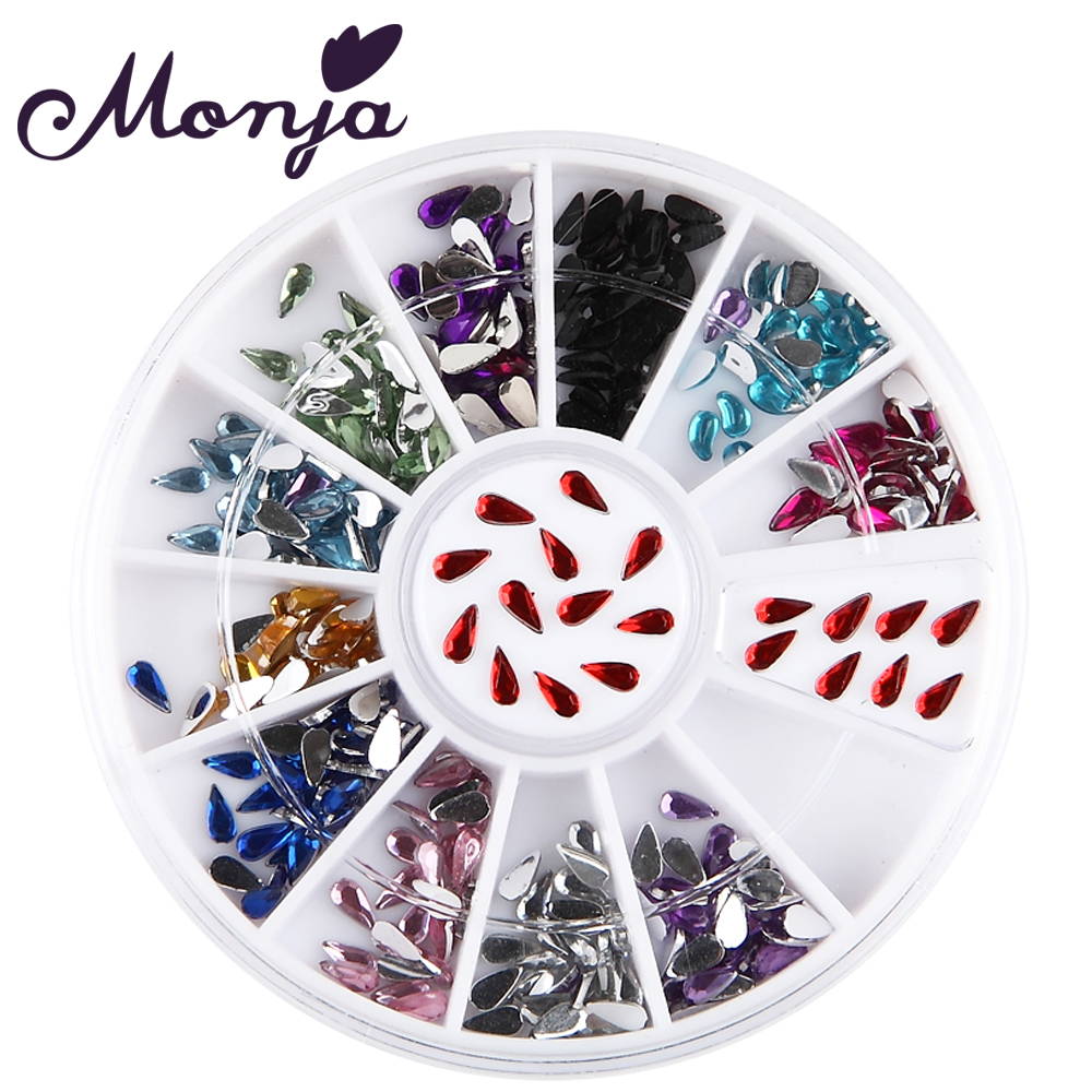 12 Colors Nail Art Water Drop Acrylic Rhinestones Beads Gel Polish Tips Wheel DIY Glitter Shiny Gem Jewelry Decoration Stickers biutee 12 colors nail rhinestones 4mm acrylic nail art rhinestones decoration for uv gel phone laptop diy nail tools