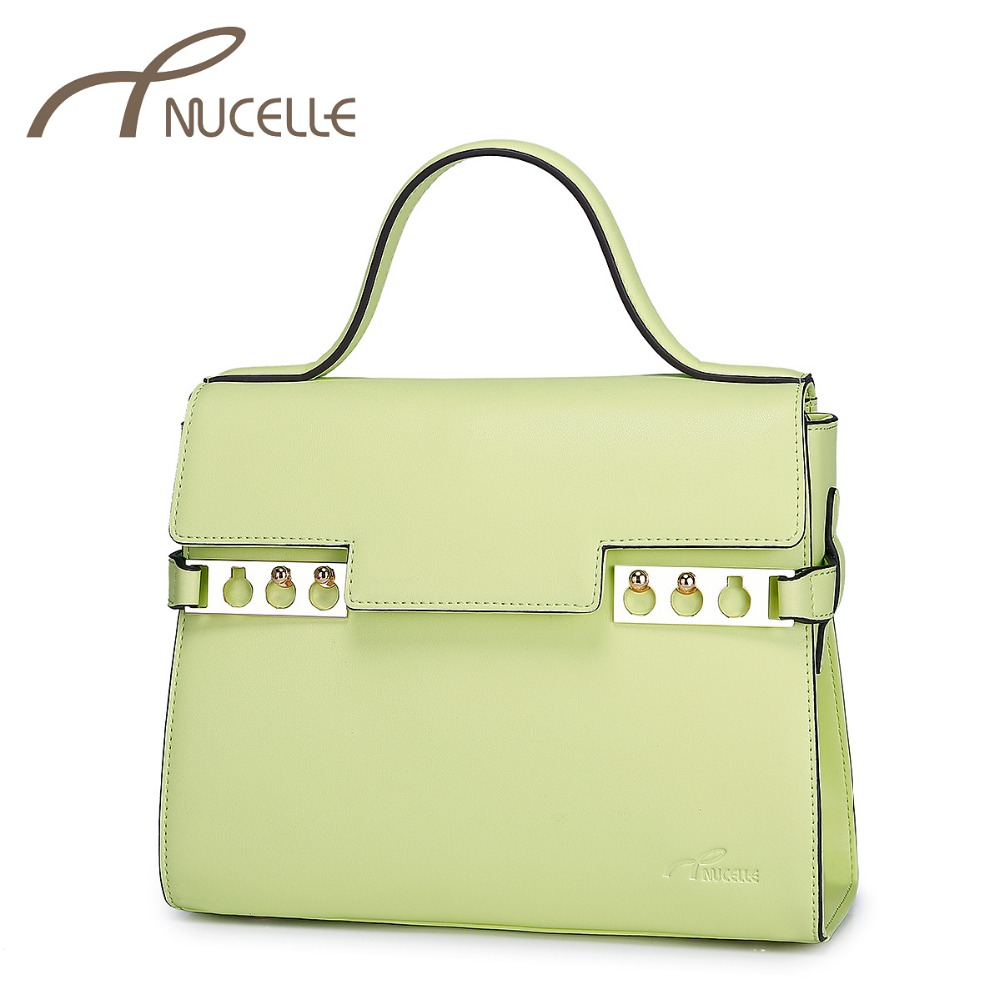 Nucelle Women Split Leather Handbags Elegant Ladies OL Fresh Color Lock Messenger Shoulder Tote Bags Female Bolsas NZ3642