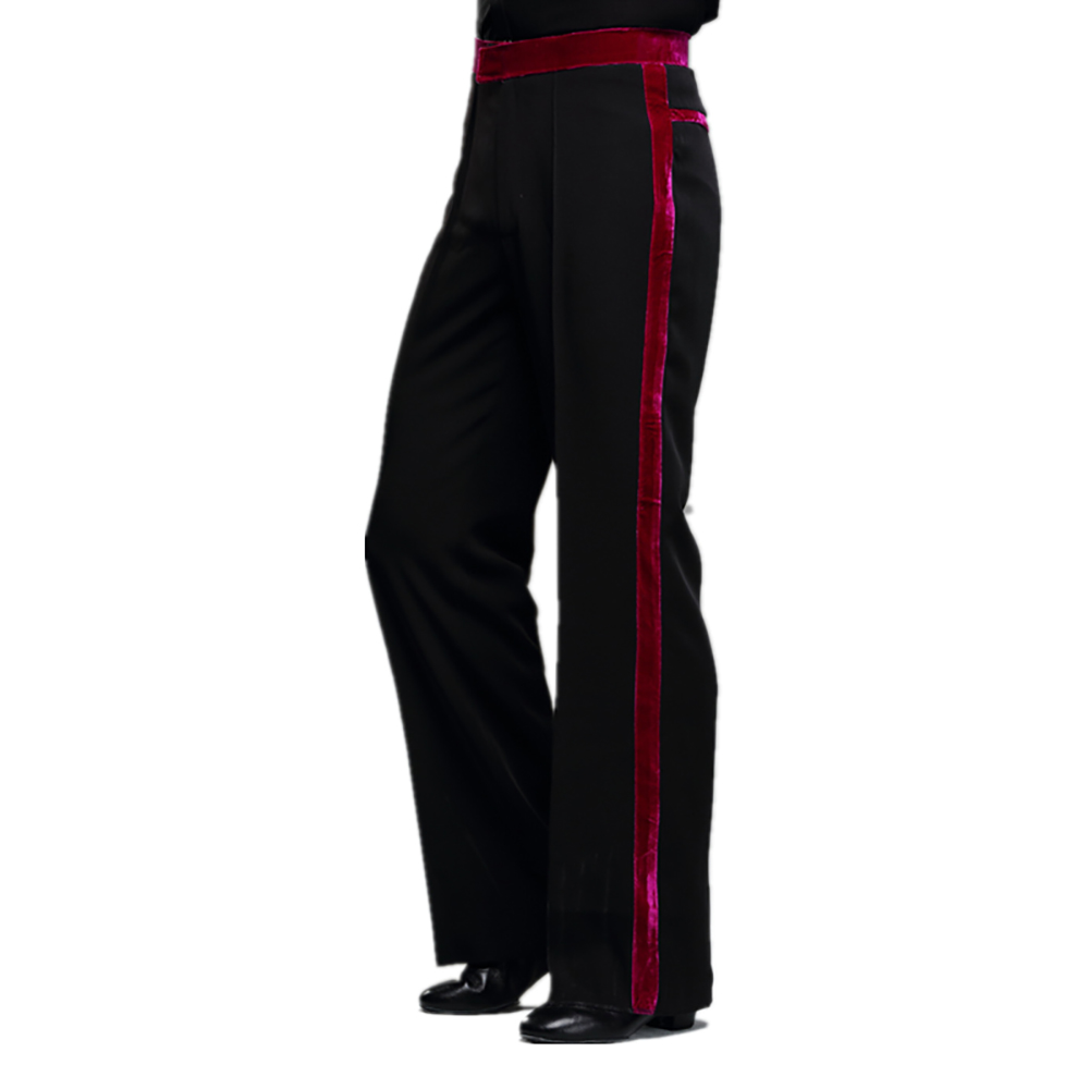 Fashion Latin Dance Pants For Male Black Red Standard Fringe Pants Fabric Men Ballroom Stage Modern Waltz Tango Trousers Y161
