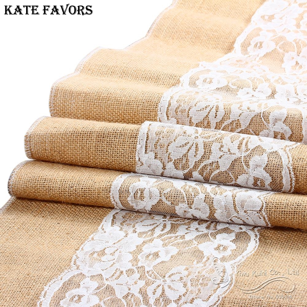 New Jute Table Runner Burlap Lace Table Cloth Wedding