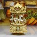 Carousel music box Creative rose carved yellow music box christmas gift birthday gift