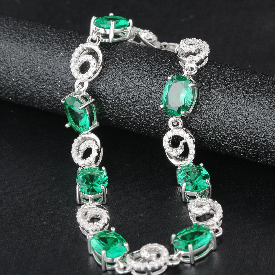 Kuololit Emerald Gemstone Bracelets For Women Real 925 Sterling Silver Jewelry Chain Charm Oval Bracelet Wedding