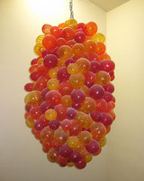 New Arrival Creative LED Chandeliers Suspension Lamp Grape Shape Colored Hand Blown Glass Balls Chandelier