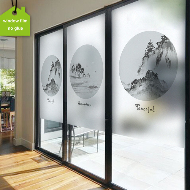 Elegant Support Custom Size Decorative Frosted Self adhesive Window Glass stickers Static Cling Landscape Sliding New Design - Fresh frosted interior door Modern