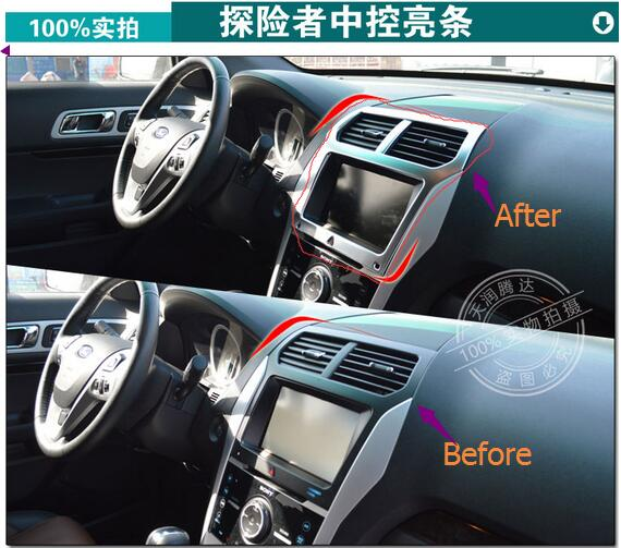 ABS chrome Car Accessories Car central controller panel protector car styling stickers for Ford EXPLORE 2015 цена