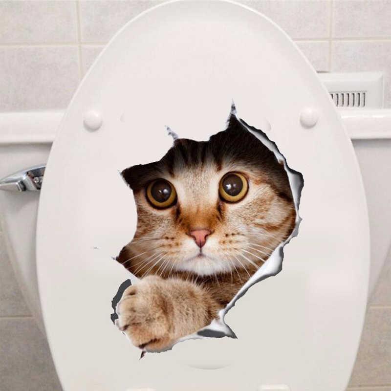 Виниловая водостойкая 3D наклейка на стену в виде отверстия с кошкой  и собакой, в ванную комнату, на унитаз, в гостиную, украшения дома, наклейки, постер, фоновые наклейки на стену