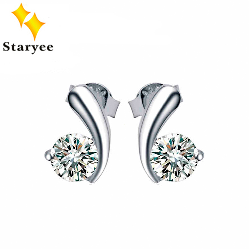 Certified 1CT A Pair Pure 18K White Gold Fine Jewelry Women Moissanite Stud Earrings For Engagement Round Brilliant Cut pair of stylish rhinestone triangle stud earrings for women