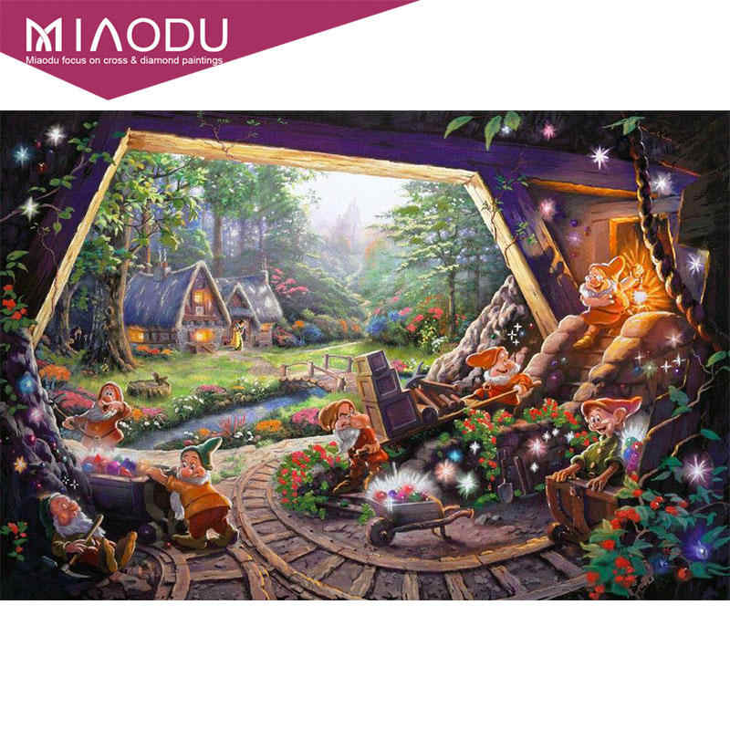 Miaodu 5D DIY Diamond Lukisan Kartun Treasure Square Daimond Lukisan Diamant Dekorasi Rumah Bordir Cross Stitch