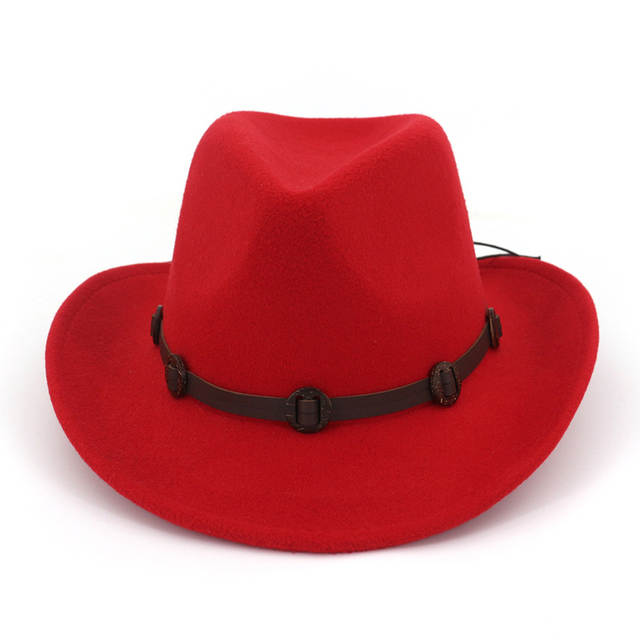 placeholder European US Wide Brim Woolen Felt Jazz Panama Hat Western  Cowboy Cowgirl Hats with Leather Decorated 9d1d810393c