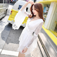 2017 Brand Bodysuits Bohemian Long Sleeve V Collar White Spring Autumn Jumpsuits Women Wholesale