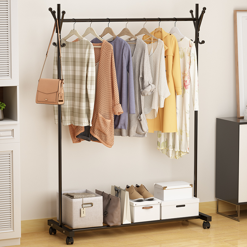 US $76.5 10% OFF|cheap Movable landing coat rack with wheels The rack of  bedroom clothes coatrack Bag frame-in Storage Holders & Racks from Home &  ...