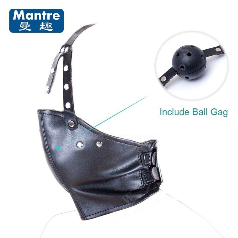 Buy Sex Mask Open Mouth Gag Balls Bondage Slave Fetish PU Leather Fantasy Sex Toys Couples Flirting Adult Products