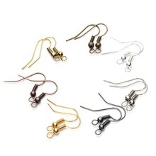 New Fashion Style 100 pcs Round bead Ear Hook Silver/Gold/Antique Bronze/Rhodium Silver Earring Flattening Line Jewelry Fitting(China)