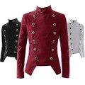 Retro Vintage Slim Fit Masculino Vestido de Traje Cruzado Hombres Chaqueta Cuello Mao Chaqueta de Esmoquin Rojo Burdeos Negro Blanco