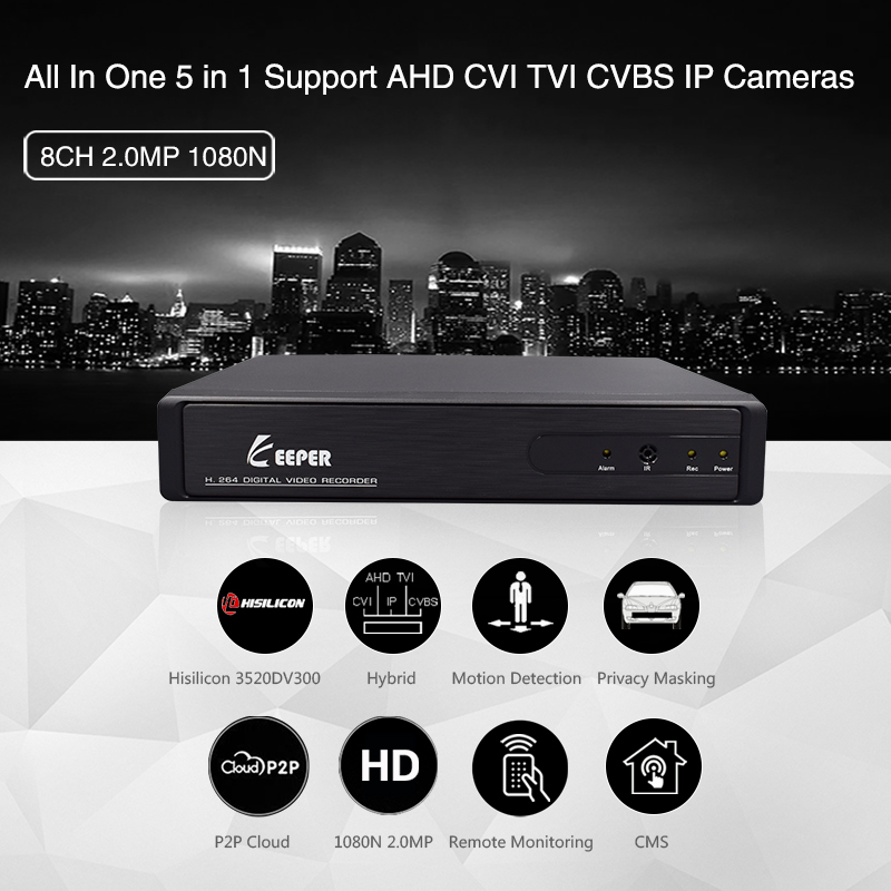 Keeper 8CH 1080N H.264 AHD 5 IN1 DVR NVR Digital Video Recorder for CCTV 1080P HDMI Video Output Support Analog AHD IP Camera