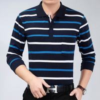 100 Cotton Fashion Striped T Shirt Smart Casual Turn Down Collar Man T Shirt