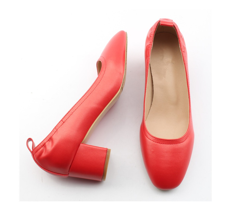 Shoes Women Genuine Leather Fashion Office and Career Rounded Toe 2-inch Block Heel Fashion Office Lady Pumps Size 34-41, K-307 34