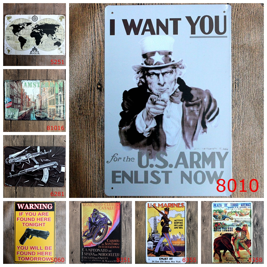 Classic Wall Stickers Vintage Tin signs Map Uncle Sam Gun signage wall sticker home decor House Office Garage Bar iron Paintings