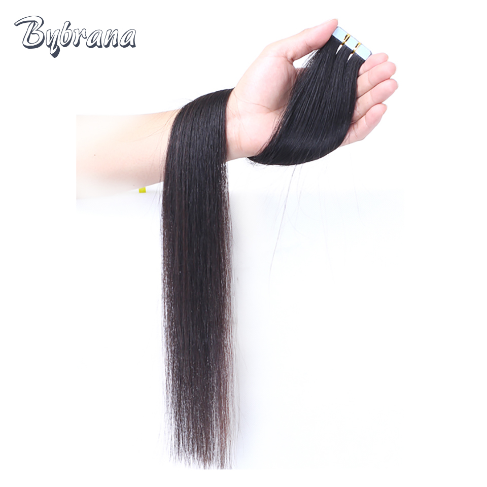 Brbrana 20pcs Black Tape In Human Hair Extensions 2cm Wide Remy Hair Tape In Brazilian Hair Natural Color For Women