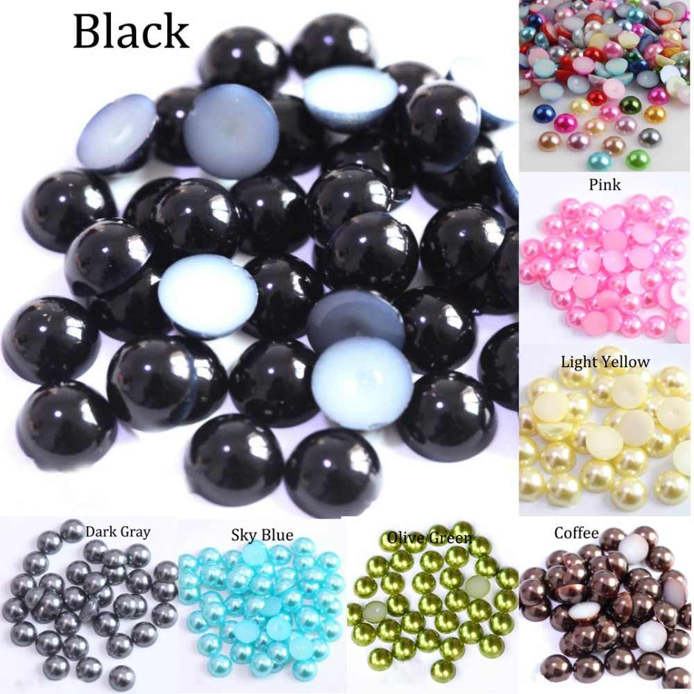 2/3/4/5/6/8/10/12/14 MM Acrylic Beads Pearl Imitation Half Round Flatback Red Black Pink Bead For Jewelry Making DIY Accessories
